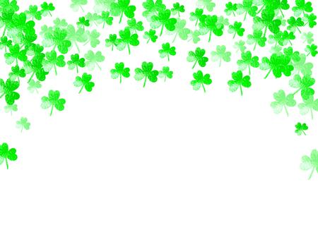 St. Patrick's day background with shamrock. Lucky trefoil confetti. Glitter frame of clover leaves. Vector illustration Illustration