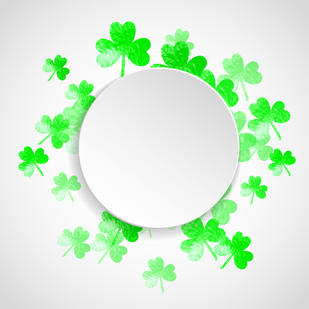 St patricks paper plate with shamrock. Lucky trefoil confetti. Glitter frame of clover leaves. Template for flyer, special business offer, promo. Decorative st patricks paper plate backdrop.