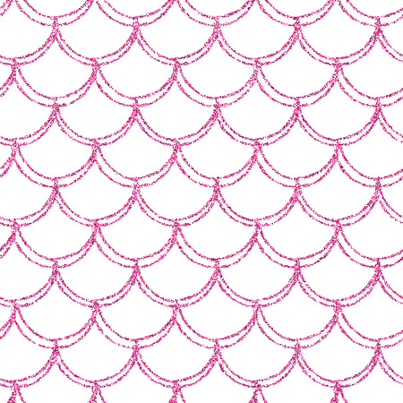 Glitter mermaid tail seamless pattern. Fish scale texture. Tileable background for girl fabric, textile design, wrapping paper, swimwear or wallpaper. Pink glitter mermaid background with fish skin.