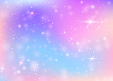 Fantasy gradient backdrop with hologram with magic sparkles, stars and blurs.
