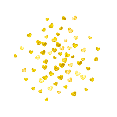 Wedding confetti with gold glitter hearts. Valentines day. Vector background. Hand drawn texture.