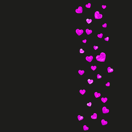 Mothers day background with pink glitter confetti. Isolated heart symbol in rose color.  Postcard for mothers day background. Love theme for voucher, special business banner. Women holiday design Vectores