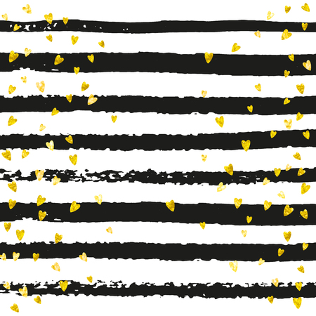Gold glitter hearts confetti  on black stripes. Shiny falling sequins with shimmer and sparkles. Template with gold glitter hearts for party invitation, event banner, flyer, birthday card.