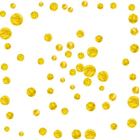 Wedding glitter confetti with dots on isolated backdrop. Shiny falling sequins with shimmer and sparkles. Design with gold wedding glitter for party invitation, event banner, flyer, birthday card.