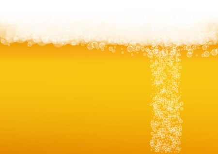 Beer bubbles background with realistic white foam.  Cool liquid drink for pub and bar menu design, banners and flyers.  Yellow horizontal beer bubbles backdrop. Cold pint of golden lager or ale. Illustration
