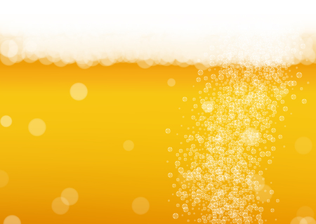 Beer bubbles background with realistic white foam.  Cool liquid drink for pub and bar menu design, banners and flyers.  Yellow horizontal beer bubbles backdrop. Cold glass of ale for brewery design.