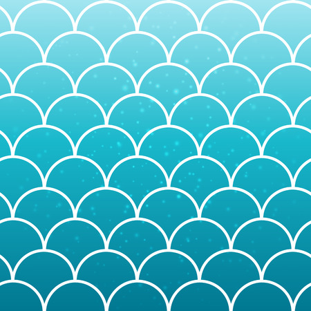 Squama on trendy gradient background. Square backdrop with squama ornament. Bright color transitions. Mermaid tail banner and invitation. Underwater and sea pattern. Turquoise, blue colors.