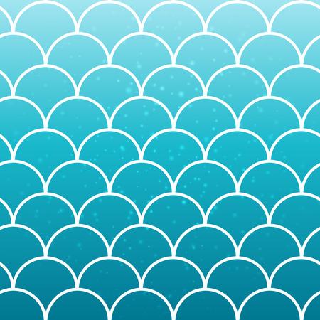 Squama sur fond dégradé à la mode. Toile de fond carrée avec ornement squama. Transitions de couleurs vives. Bannière et invitation de queue de sirène. Modèle sous-marin et marin. Couleurs turquoise, bleu. Vecteurs