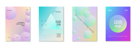 Minimal shapes cover set with holographic fluid. Gradient shapes on vibrant background. Modern hipster template for placard, presentation, banner, flyer, brochure. Minimal shapes cover in neon colors.