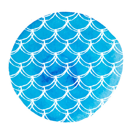 Mermaid tail on watercolor background. Bright colors. Fish scale banner and invitation. Girl underwater and sea pattern. Hand drawn round backdrop with mermaid tail ornament. Blue vector.