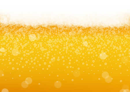 Beer foam background with realistic bubbles.  Cool beverage for restaurant menu design, banners and flyers.  Yellow horizontal beer foam background. Cold pint of golden lager or ale.