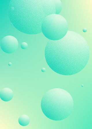 Minimal shapes cover with holographic fluid and halftone dots texture. Gradient shapes on vibrant background. Modern template for placard, presentation, banner. Minimal shapes cover in neon colors. Illustration