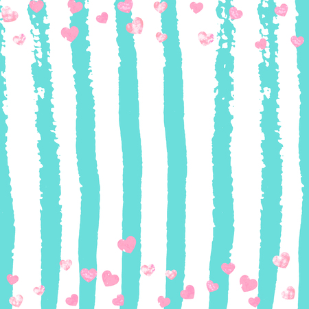 Wedding glitter confetti with heart on turquoise stripe. Shiny random sequins with metallic sparkles. Design with pink wedding glitter for party invitation, event banner, flyer, birthday card.