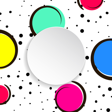 Pop art colorful confetti background. Big colored spots and circles on white background with black dots and ink lines. Banner with 3d paper plate in pop art style. Vibrant template for flyer, sale, ad Vettoriali