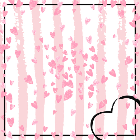 Pink glitter confetti with hearts on pink stripes. Shiny falling sequins with shimmer and sparkles. Template with pink glitter confetti for party invitation, event banner, flyer, birthday card.