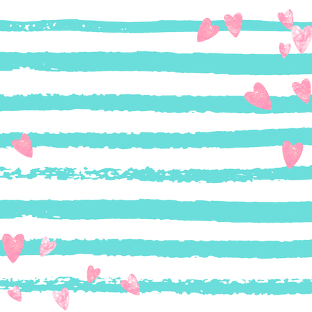 Pink glitter confetti with hearts on turquoise stripes. Shiny random falling sequins with sparkles. Design with pink glitter confetti for party invitation, event banner, flyer, birthday card. Stock Illustratie