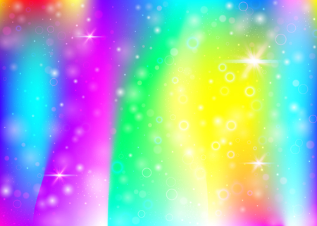 Magic background with rainbow mesh. Liquid universe banner in princess colors. Fantasy gradient backdrop with hologram. Holographic magic background with fairy sparkles, stars and blurs.