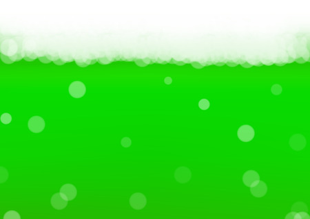 Green beer background for Saint Patricks Day with bubble foam. Cool liquid drink for pub and bar menu design, banners and flyers.  Realistic backdrop with green beer for St. Patrick. Cold ale pint