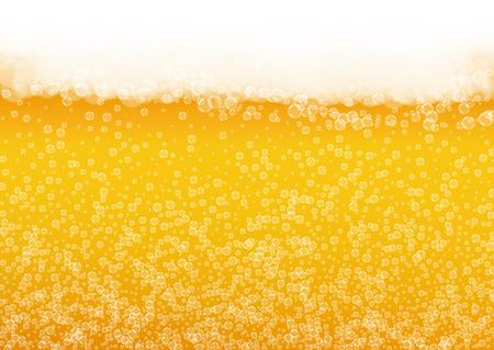 現実的な泡とビール泡の背景。パブやバーのメニューデザイン、バナー、チラシ用の冷たい液体ドリンク。黄色の水平ビールフォームの背景。ゴールデンラガーまたはエールのコールドパイント。