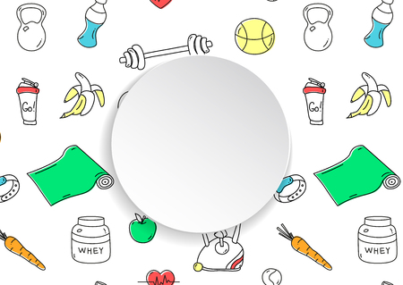 Fitness banner with hand drawn gym pattern and 3d paper plate. Doodle icons for healthy workout and exercise. Sport lifestyle line art. Stylish fitness banner for sales, special offers, flyers and ad.