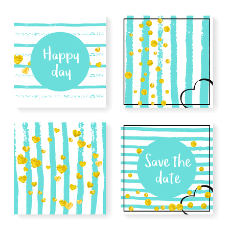 Wedding glitter confetti on stripes. Invitation set. Gold hearts and dots on mint and white background. Design with wedding glitter for party, event, bridal shower, save the date card.