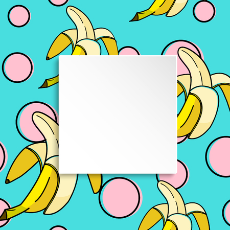 Banana background with pop art dots in 80s, 90s style. Summer tropical banner with 3d paper plate. Fruit badge with banana background for season sale, special offer, flyer and ad. Vibrant template.