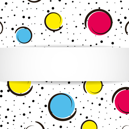 Pop art colorful confetti background. Big colored spots and circles on white background with black dots and ink lines. Banner with 3d paper plate in pop art style. Trendy design for flyer, sale, ad