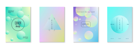 Holographic cover set with radial fluid. Geometric shapes on gradient background. Modern hipster template for placard, presentation, banner, flyer, brochure. Minimal holographic cover in neon colors.