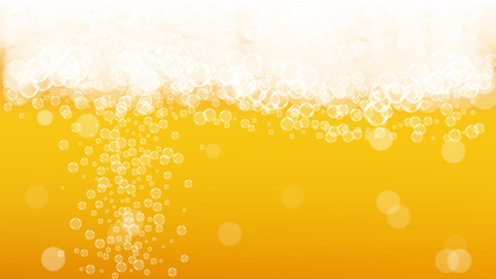 Beer fest background with realistic bubbles.  Cool liquid drink for pub and bar menu design, banners and flyers.
