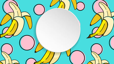Banana background with pop art dots in 80s, 90s style. Summer tropical banner with 3d paper plate. Fruit label with banana background for season sale, special offer, flyer and ad. Colorful template. Stock Illustratie