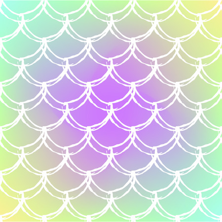 Fish skin on trendy gradient background. Square backdrop with fish skin ornament. Bright color transitions. Mermaid tail banner and invitation. Underwater and sea pattern.