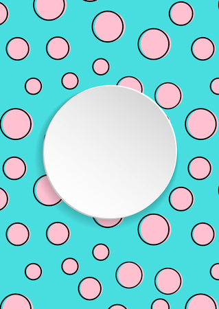 Pop art colorful confetti background. Big colored spots and circles on white background with black dots and ink lines. Banner with 3d paper plate in pop art style. Bright design for flyer, sale, ad