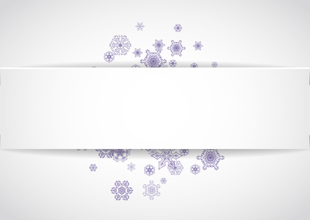 Snow frame for xmas sale with ultraviolet snowflakes.  Winter border for flyer, gift card, invitation, business offer and ad. Christmas white background. Paper banner and snow frame. Snowy backdrop