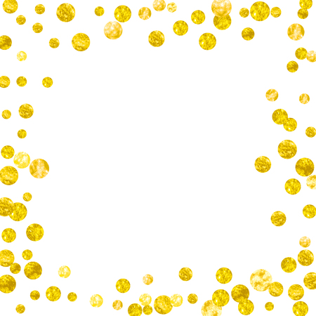 Wedding glitter confetti with dots on isolated backdrop. Shiny random sequins with metallic sparkles. Design with gold wedding glitter for party invitation, event banner, flyer, birthday card. 일러스트