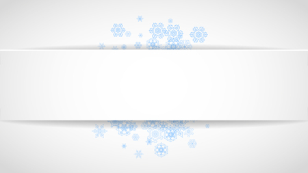 Snow paper banner with blue snowflakes. Horizontal Christmas and New Year design for party invitation, banner, sale. Winter window. Magic crystal flakes. Stylish snow paper banner for celebration.