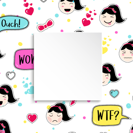 Girl banner with anime emoji pattern. Cute stickers with emoticon and 3d paper. Childish girl banner with kawaii asian faces. Template for fashion and make up sales, ads, special offers and flyers.