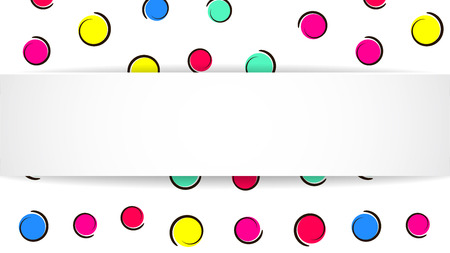 Pop art colorful confetti background. Big colored spots and circles on white background with black dots and ink lines. Banner with 3d paper plate in pop art style. Cute design for flyer, sale, ad Stock Illustratie