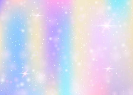 Sfondo fata con maglia arcobaleno. Banner universo alla moda in colori principessa. Sfondo sfumato fantasia con ologramma. Sfondo fata olografico con scintillii magici, stelle e sfocature.