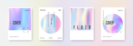 Holographic poster set. Abstract backgrounds. Liquid holographic poster with gradient mesh. 90s, 80s retro style. Pearlescent graphic template for placard, presentation, banner, brochure.