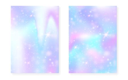 Fondo de arco iris con degradado de princesa kawaii. Holograma de unicornio mágico. Conjunto de hadas holográficas. Cubierta de fantasía fluorescente. Fondo de arco iris con destellos y estrellas para invitación de fiesta de niña linda.
