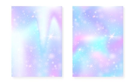 Rainbow background with kawaii princess gradient. Magic unicorn hologram. Holographic fairy set. Fluorescent fantasy cover. Rainbow background with sparkles and stars for cute girl party invitation.