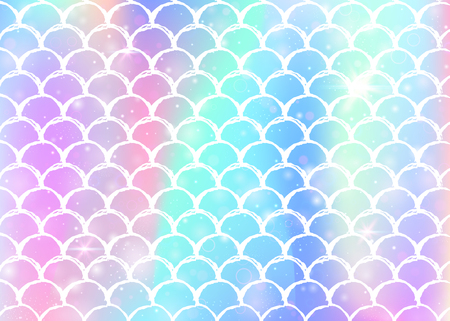 Rainbow scales background with kawaii mermaid princess pattern. Fish tail banner with magic sparkles and stars. Sea fantasy invitation for girlie party. Multicolor backdrop with rainbow scales. Illustration