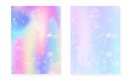 Magic background with princess rainbow gradient. Kawaii unicorn hologram. Holographic fairy set. Bright fantasy cover. Magic background with sparkles and stars for cute girl party invitation. Vettoriali