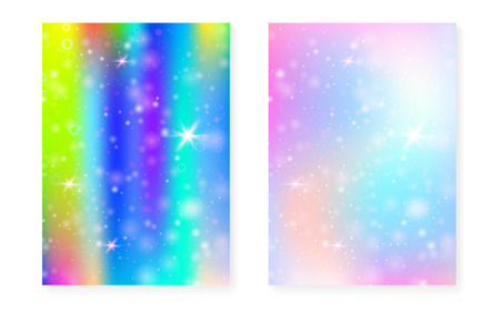 Rainbow background with kawaii princess gradient. Magic unicorn hologram. Holographic fairy set. Trendy fantasy cover. Rainbow background with sparkles and stars for cute girl party invitation.