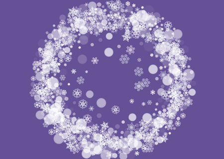 Xmas sales with ultraviolet snowflakes. New Year snowy backdrop. Winter border for gift coupons, vouchers, ads, party events. Christmas trendy background. Holiday banner for xmas sales.