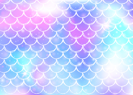 Princess mermaid background with kawaii rainbow scales pattern. Fish tail banner with magic sparkles and stars. Sea fantasy invitation for girlie party. Multicolor princess mermaid backdrop.