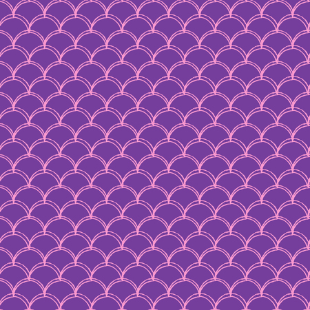 Girl mermaid seamless pattern. Pink fish skin backdrop. Tillable background for girl fabric, textile design, wrapping paper, swimwear or wallpaper. Girl mermaid texture with fish scale underwater.