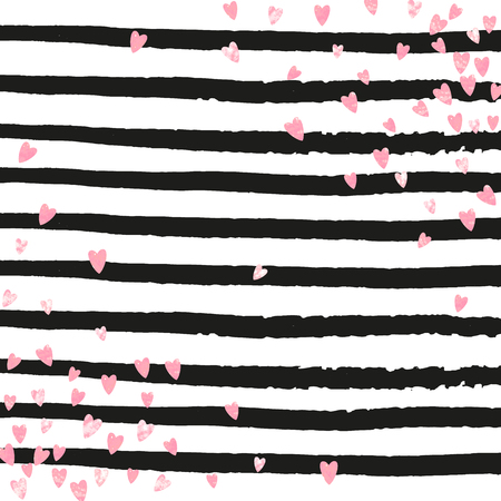 Pink glitter hearts confetti  on black stripes. Falling sequins with shimmer and sparkles. Design with pink glitter hearts for party invitation, banner, greeting card, bridal shower.