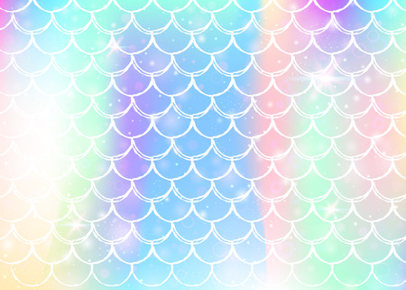 Kawaii mermaid background with princess rainbow scales pattern. Fish tail banner with magic sparkles and stars. Sea fantasy invitation for girlie party. Multicolor kawaii mermaid backdrop.