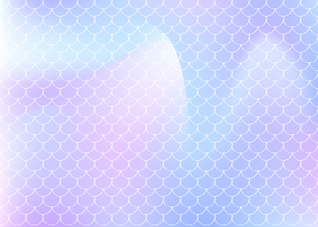 Holographic mermaid background with gradient scales. Bright color transitions. Fish tail banner and invitation. Underwater and sea pattern for girlie party. Plastic back with holographic mermaid.